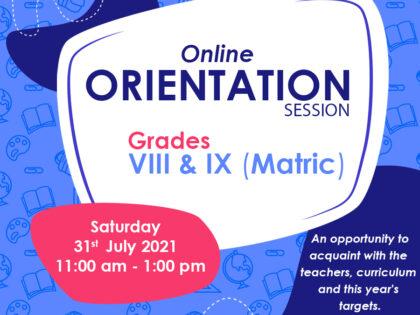 Orientation Session for Grades VIII & IX Matric