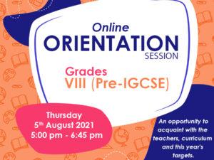 Online Orientation Grade VIII (Pre-IGCSE)